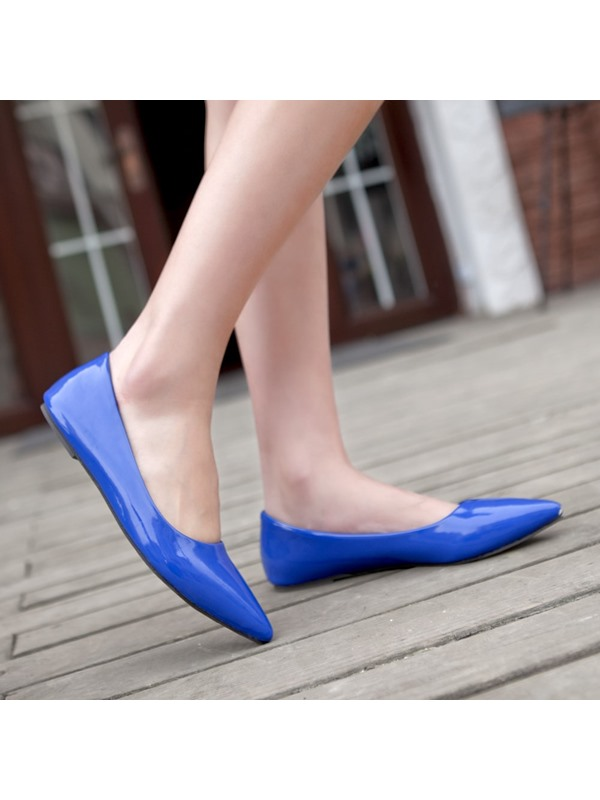 Solid Color PU Pointed Toe Flats