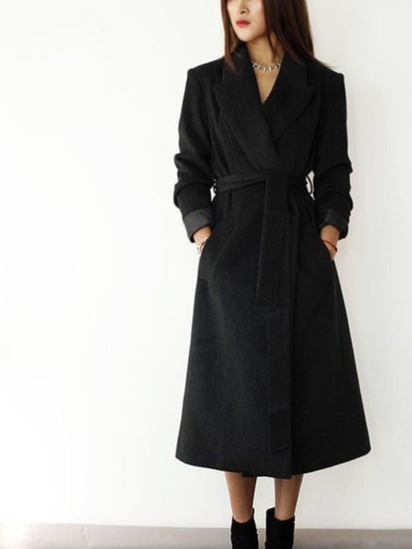Winter Long Sleeve Chic Lapel Long Trench Coat