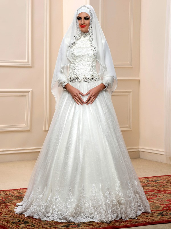 Sequin Beaded Lace Top High Neck Long Sleeve Muslim Wedding Dress