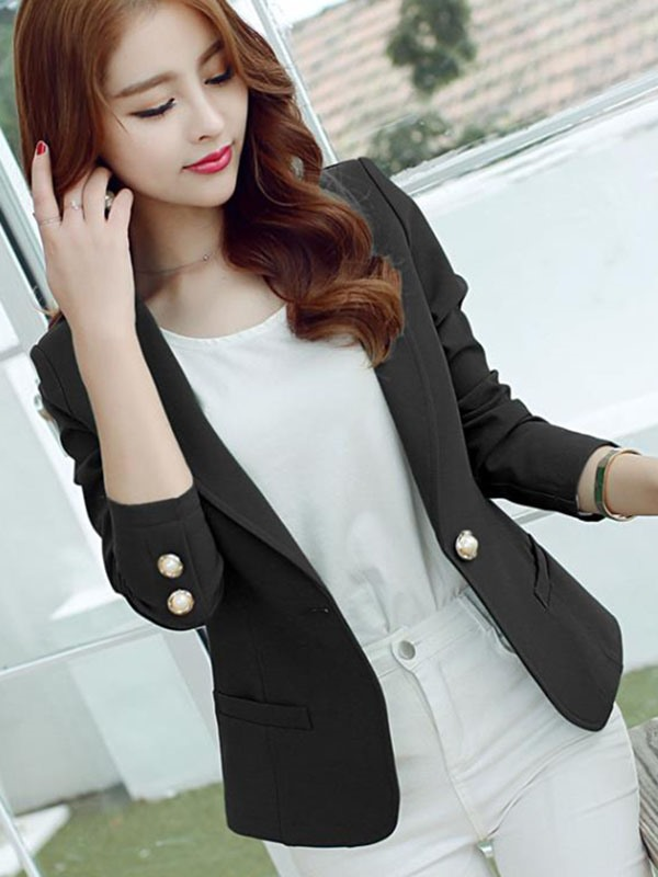 Splendid Golden Button Slim Blazer