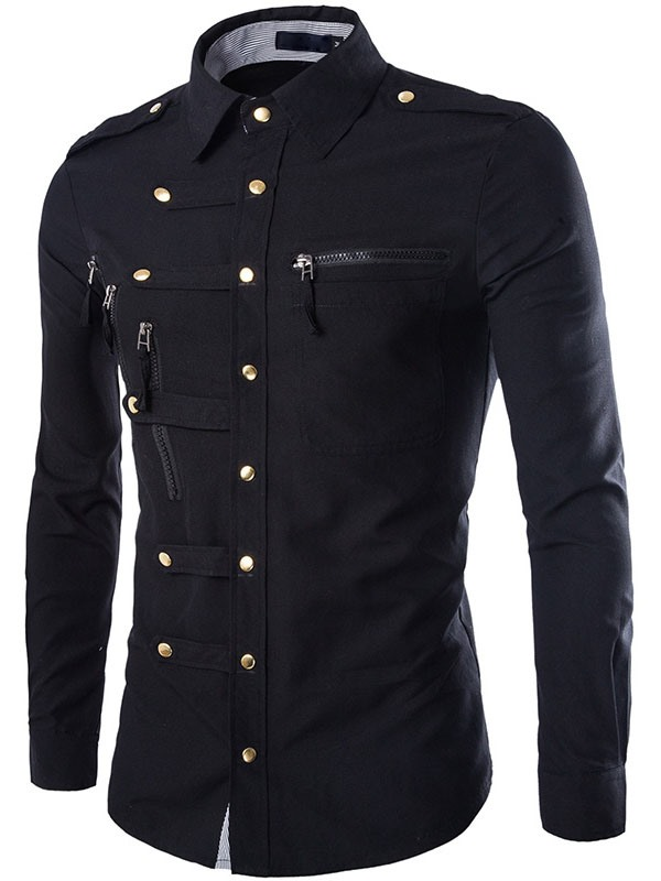 Unique Zip Design Breasted Button Down Men's Shirt