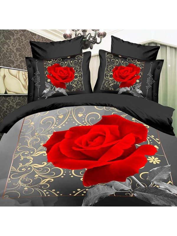 Red Rose Printing 4 Piece Bedding Sets