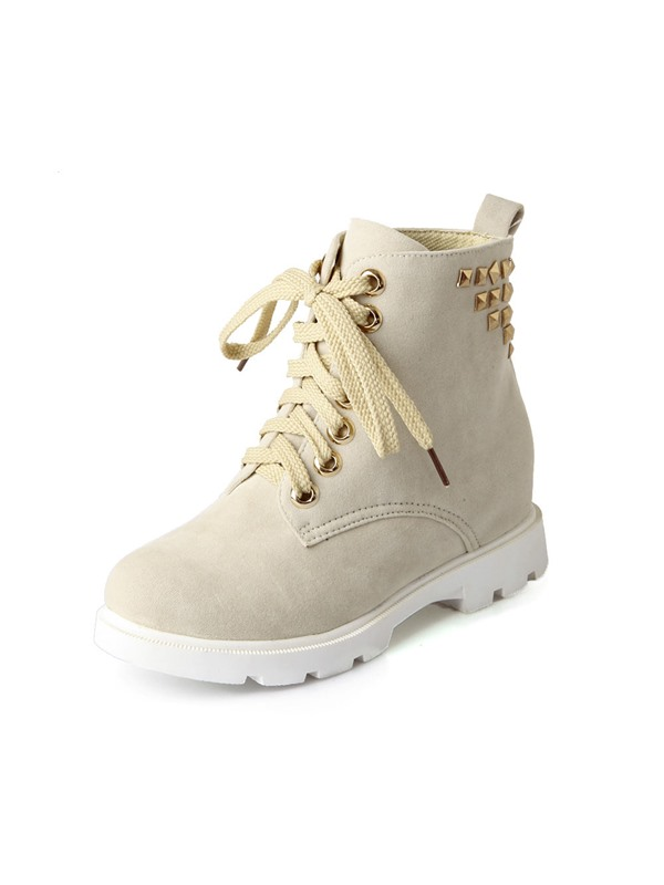 Solid Color Rivets Lace-Up Martin Boots