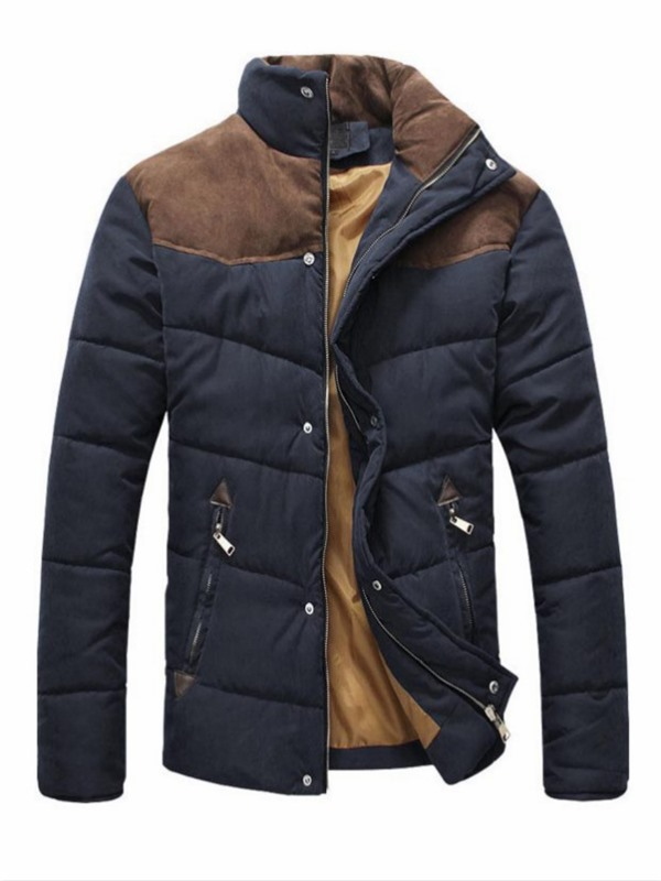 Tidebuy Stand Collar Color Block Men's Down Coat