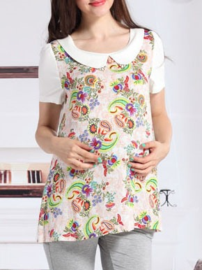 Cotton Floral Printed Doll Collar Maternity T Shirt