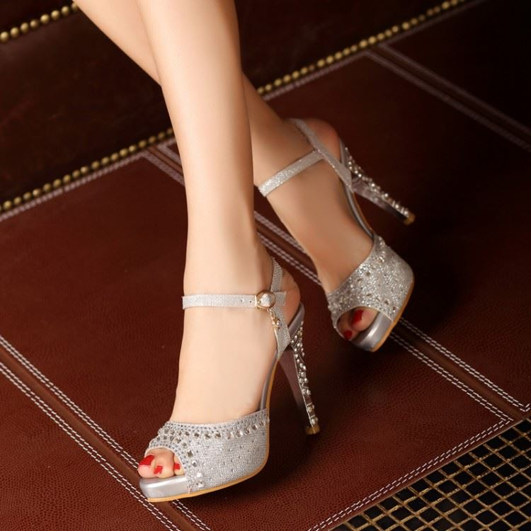Rhinestone Peep Toe Stiletto Heel Sandals