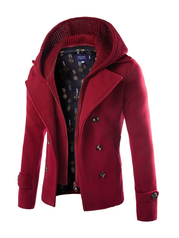 Men's Double-Layer with Zip Wool Blends Coat