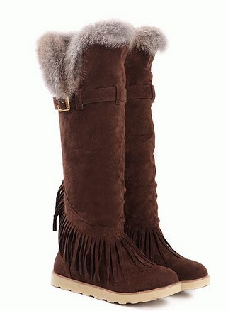 Tassels Round Toe Knee High Boots