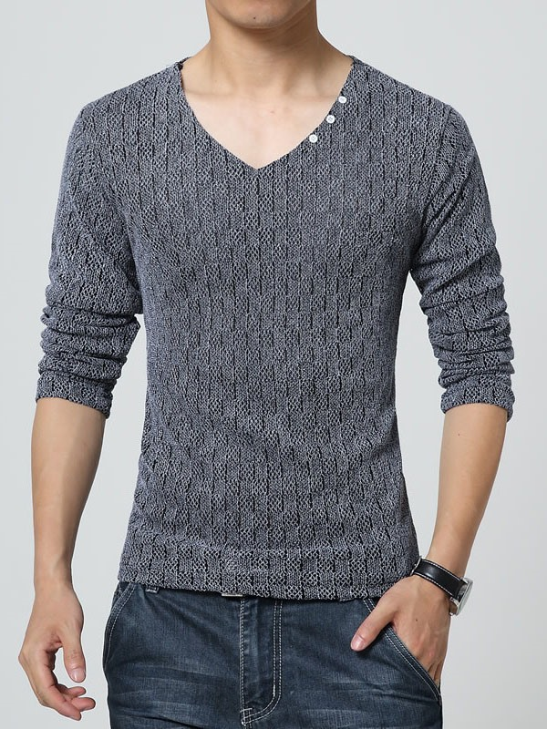 Men's Solid Color Pullover V-Neck Lightweight Sweaters