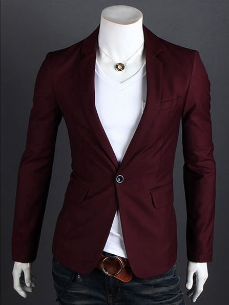 Men's Single Button Two Pockets Cotton Blazer