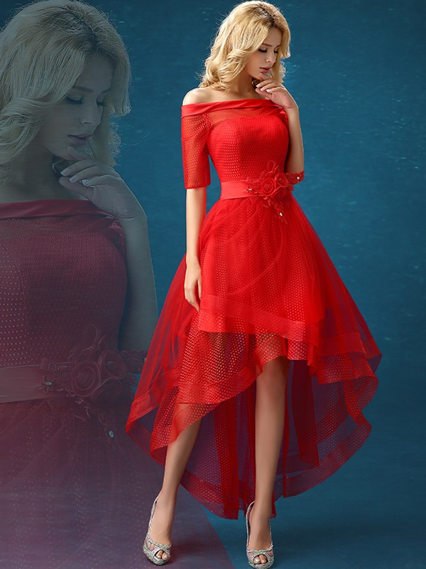 Modern Off-the-Shoulder A-Line Flowers Asymmetrical Red Prom Dress(Free Shipping)