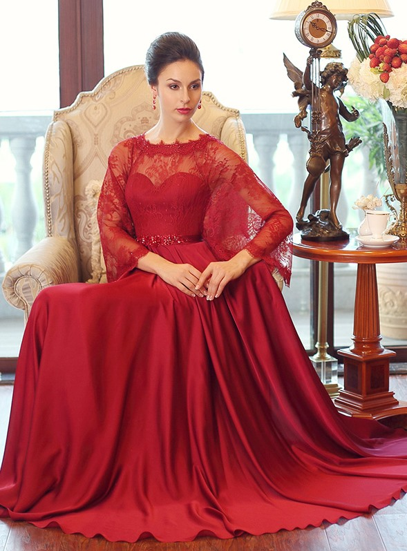 Graceful A-Line Long Sleeve Lace Beaded Long Evening Dress