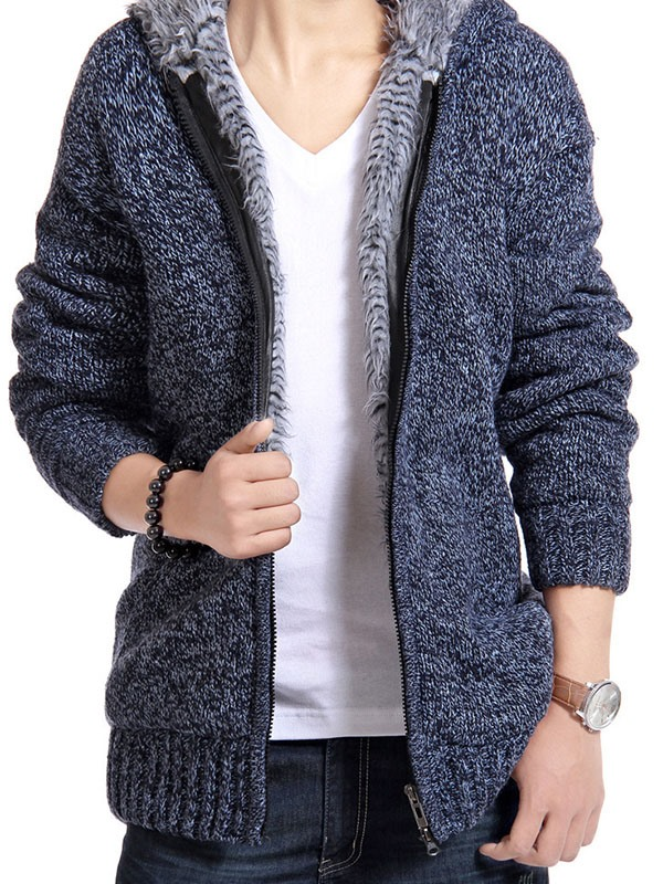 Men's Plain Flocking Acrylic Lined Zipped Up Knit Wears