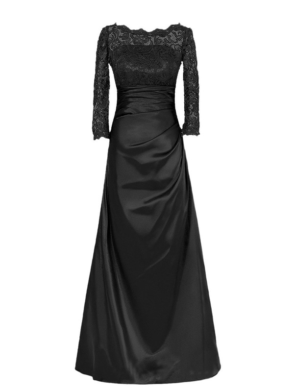 Bateau Neckline Long Sleeve Lace Floor-Length Mother of the Bride Dress