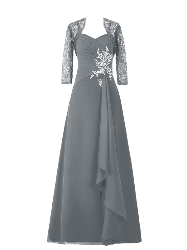 Spaghetti Straps Floor-Length Mother of the Bride Dress with Lace Jacket