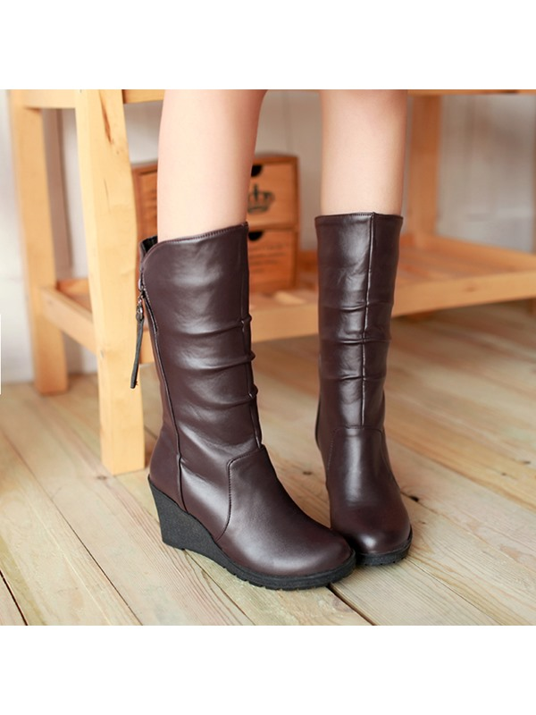 Solid Color Ruched Side Zip Wedge Boots
