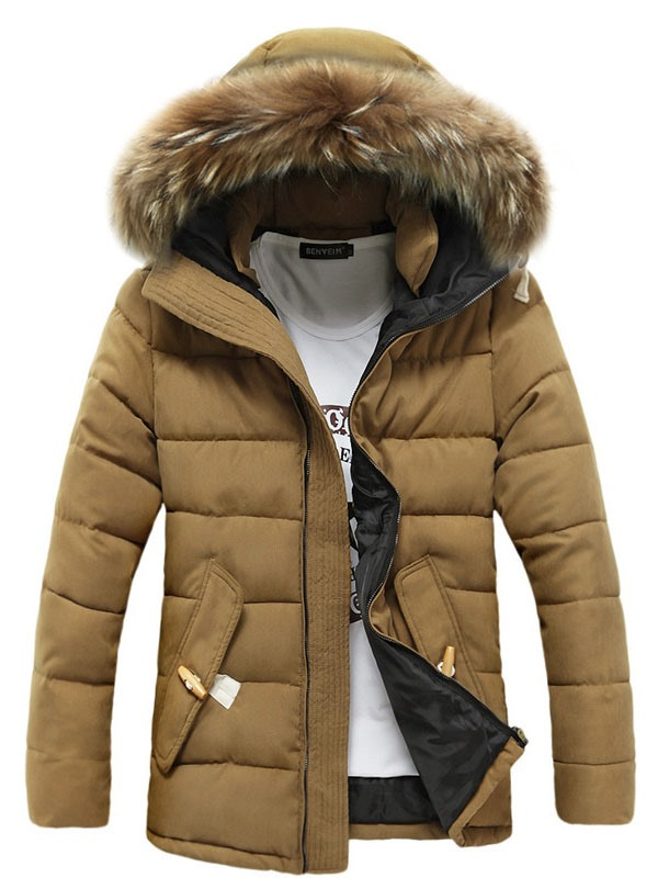 Hooded Plain Thicken Warm Men's Winter Coat