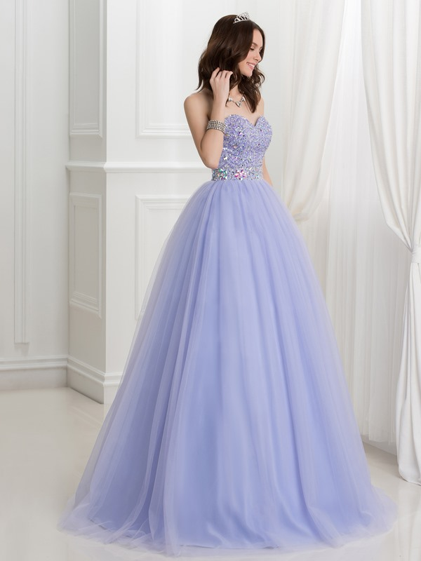Exquisite Sweetheart Beading Crystal Tulle Quinceanera Dress