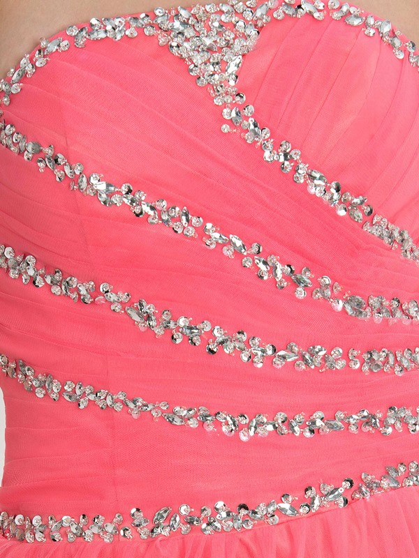 Strapless Sequins Beading Lace-Up Tulle Quinceanera Dress