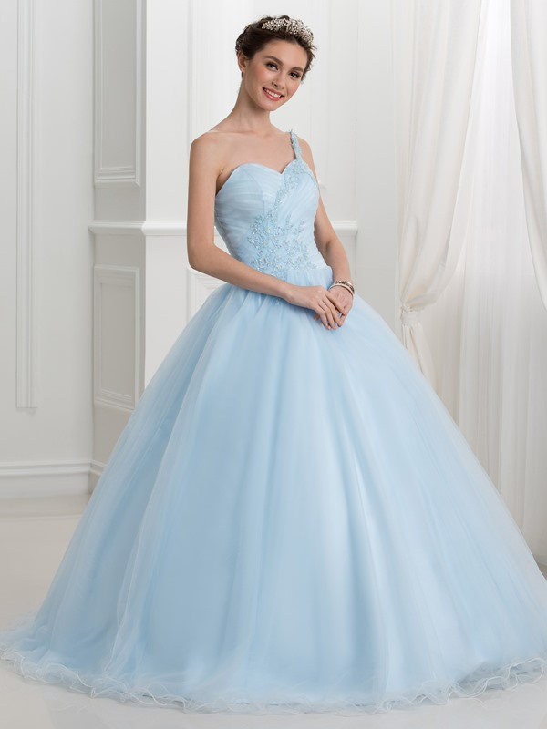 Fancy One Shoulder Appliques Beading Ball Gown Quinceanera Dress