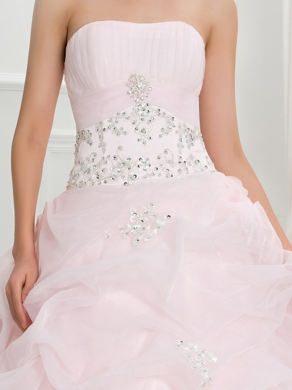 Strapless Pick-ups Appliques Sequins Quinceanera Dress