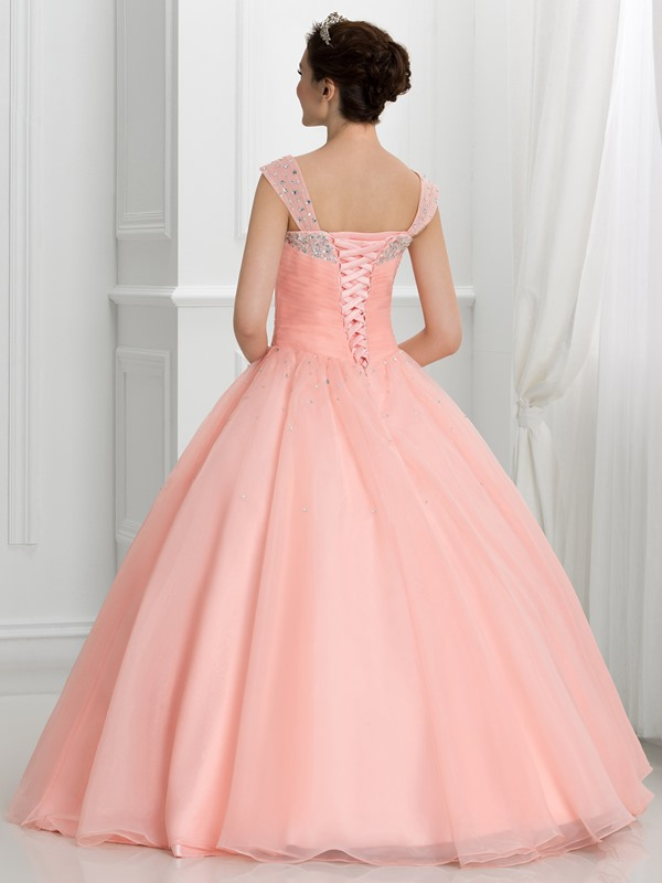 V-Neck Beading Pleats Lace-Up Ball Gown Quinceanera Dress