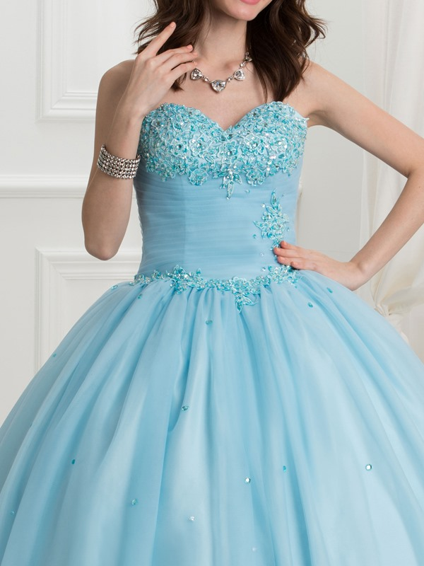 Super Sweetheart Ball Gown Crystal Appliques Beading Quinceanera Dress