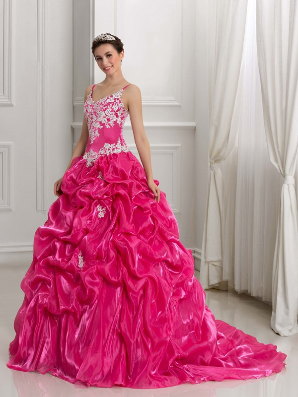 Spaghetti Straps Appliques Pick-Ups Ball Gown Quinceanera Dress