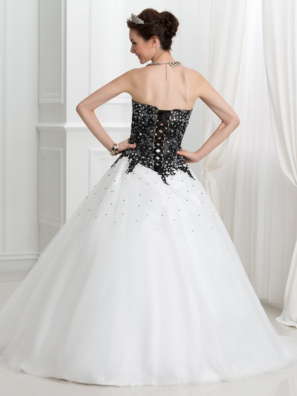 Glamorous Appliques Beading Lace-Up Ball Gown Quinceanera Dress