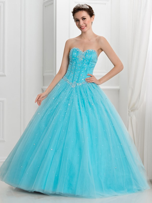 Fancy Sweetheart Beading Tulle Ball Gown Quinceanera Dress