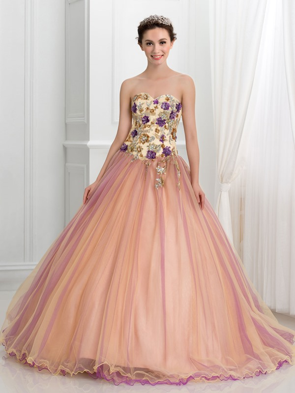 Glamorous Sweetheart Beading Appliques Ball Gown Quinceanera Dress