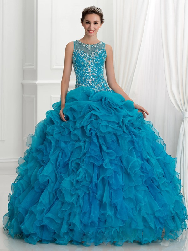 Straps Embroidery Beading Ruffles Quinceanera Dress