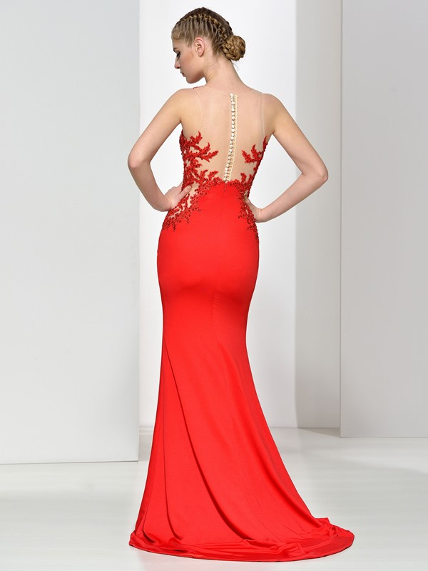 Sheer Back Straps Appliques Sequins Button Red Evening Dress