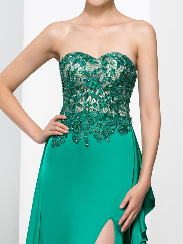 Fashionable Sweetheart Split-Front Beading Lace Evening Dress
