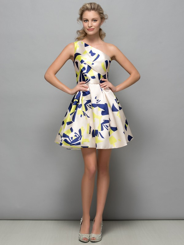 Attractive One Shoulder A-Line Print Cocktail Dress
