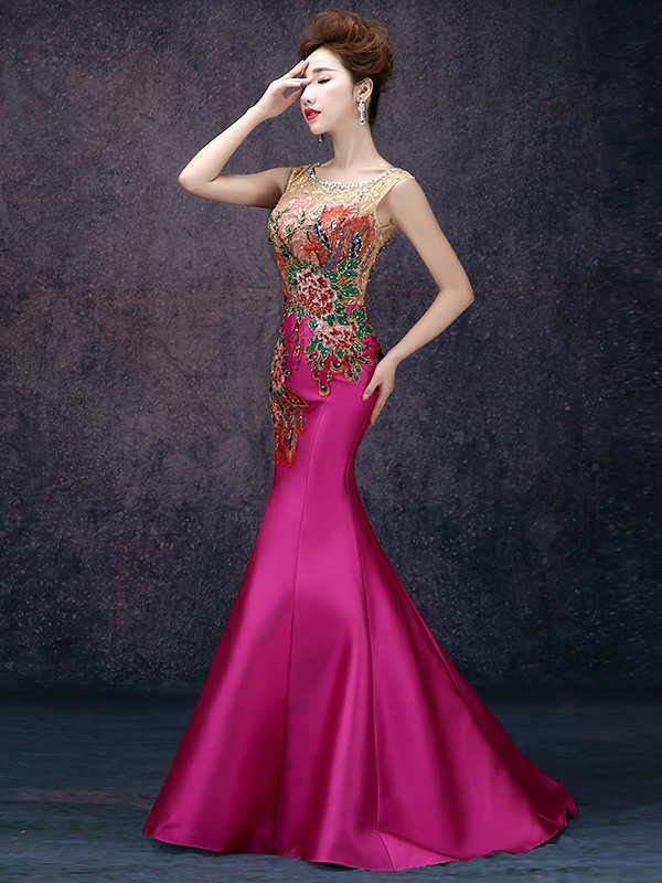 Vintage Scoop Neck Embroidery Beading Mermaid Evening Dress