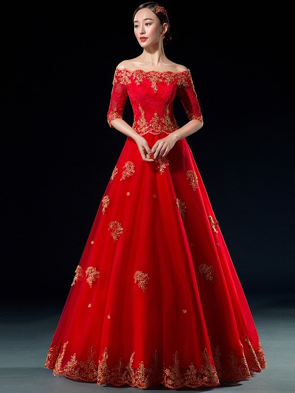 Off the Shoulder Appliques Long Ball Gown Dress(Free Shipping)