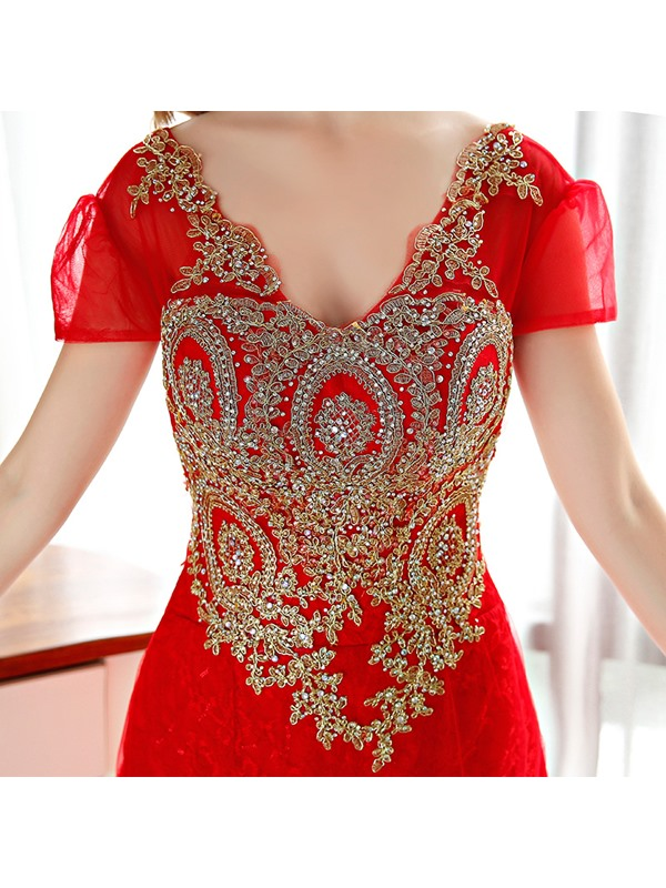V-Neck Appliques Beaded Long Evening Dress