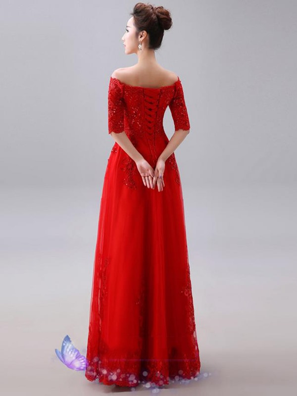 Glamorous Off-the-Shoulder Appliques Long Evening Dress(Free Shipping)