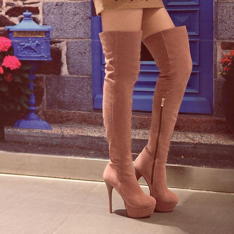 Suede Zippered Women's Thigh High Boots