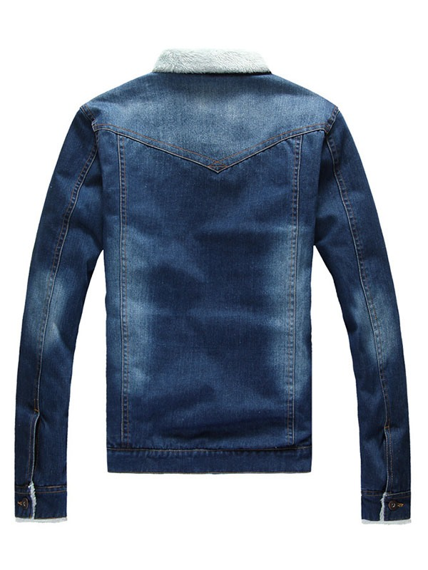 Tidebuy Fleece Stand Collar Button Men's Denim Jacket