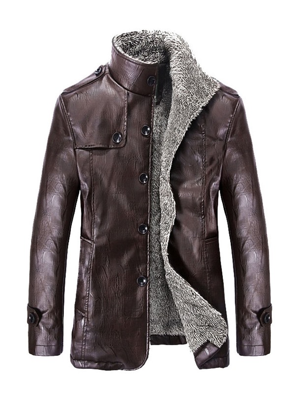 Stand Collar Plain Stylish Men's Leather Jacket