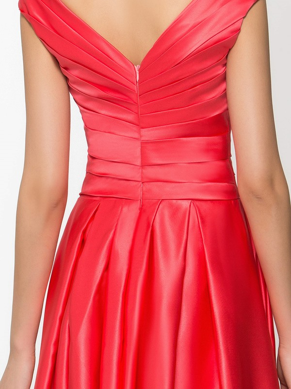 Casual V-Neck Pleats A-Line Long Prom Dress