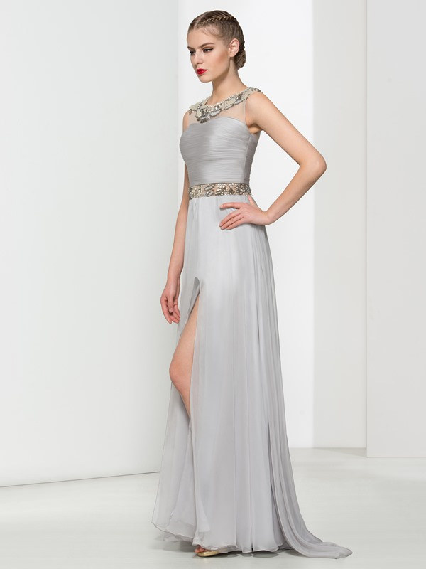 Modern Straps Beading Pleats Split-Front Long Evening Dress