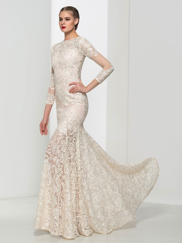 Dramatic Sleeves Beading Mermaid Lace Evening Dress