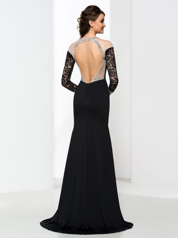 Mermaid Long Sleeves Sequins Backless Sexy Evening Dress