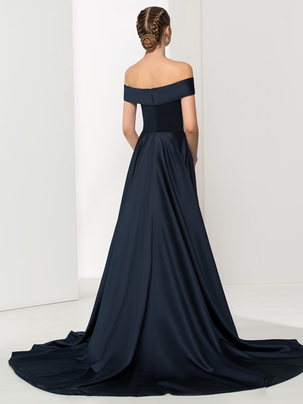 Timeless Off the Shoulder A-Line Long Evening Dress