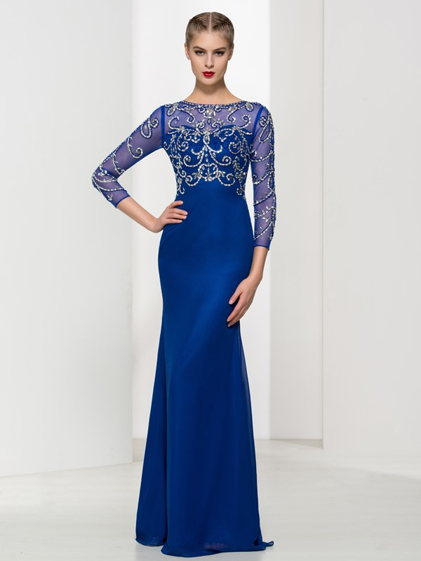 Luxurious 3/4 Length Sleeves Beading Sheath Evening Dress