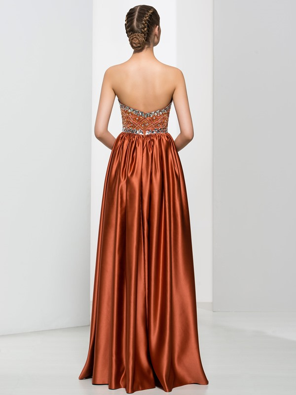 Exquisite A-Line Strapless Beading Ruched Long Evening Dress