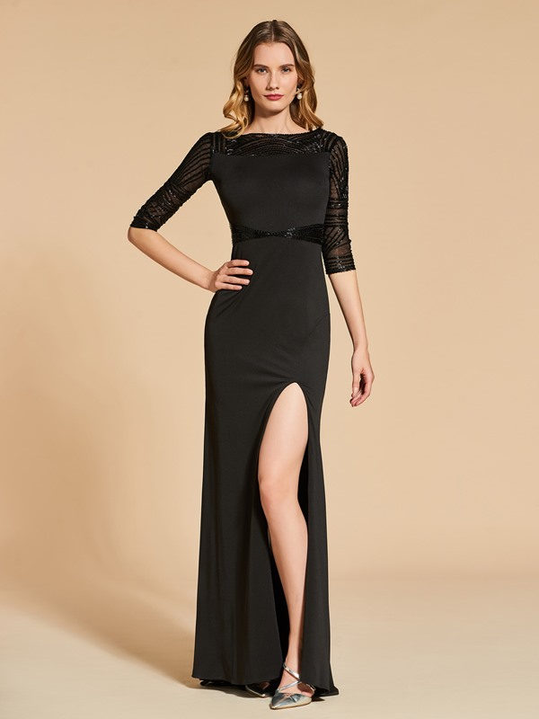 Sheath Beading Split-Front Bateau Half Sleeves Evening Dress